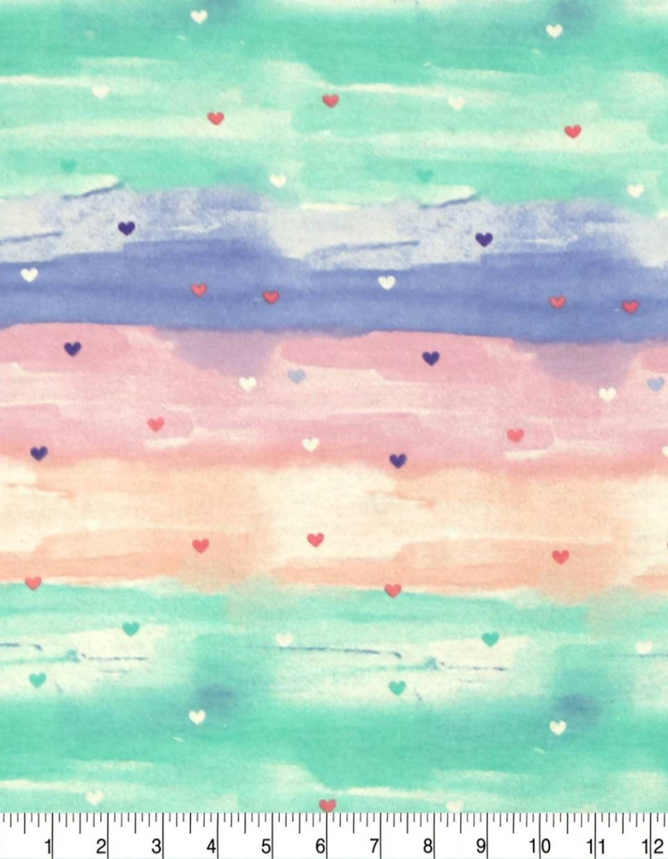 Hearts Super Snuggle Flannel Rainbow Heart Fabric Baby Blanket Fabric