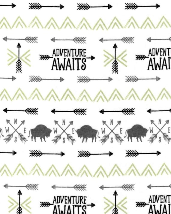 Buffalo Adventure Awaits Snuggle Flannel - Buffalo Snuggle Flannel - Forrest Flannel Fabric by the Yard - Flannel Fabric by the Yard