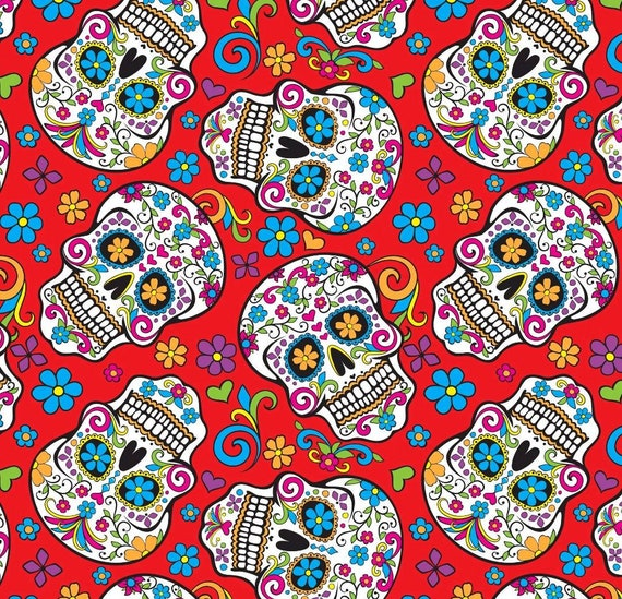 Skulls Fabric - Red Skulls Fabric by the Yard - Folkloric Skulls Red