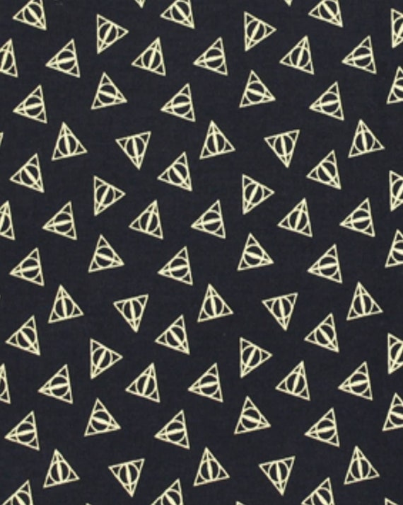 Harry Potter Deathly Hollow Fabric - Gold Triangle - Gryffindor - Ravenclaw - Hufflepuff - Slytherin