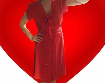 Vintage bright red bow button up dress. Next size 10.