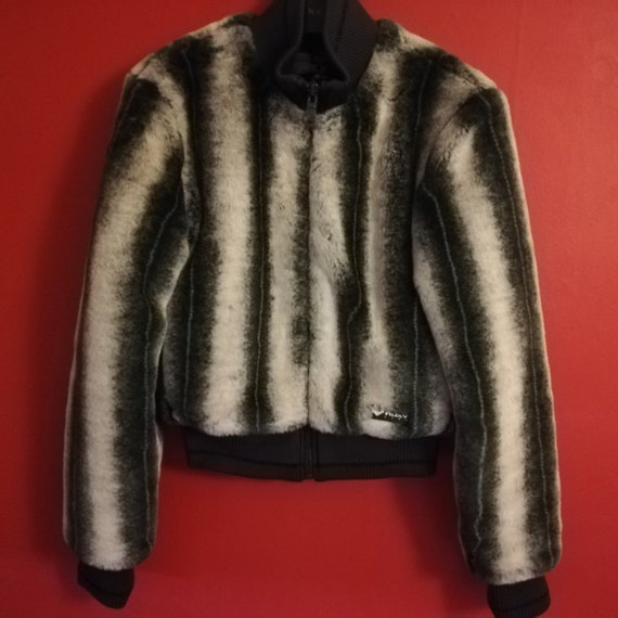 1ff65bc88 Roxy Quicksilver Striped Grey Black White Faux Fur Bomber Jacket Coat Best  Fit UK size 6 or 8 Excellent Condition