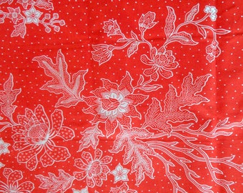 Orange Java Batik fabric - 210x110cm-floral white on bottom