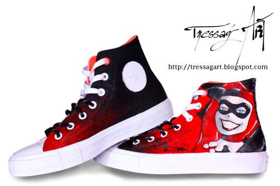 Custom Shoes Baskets Converse Harley Quinn 39 Converse customisées Harley Quinn