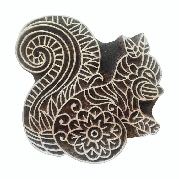 Indian Wooden Textile Stamps Wood Printing Block Squirrel Stamp Decorative Block