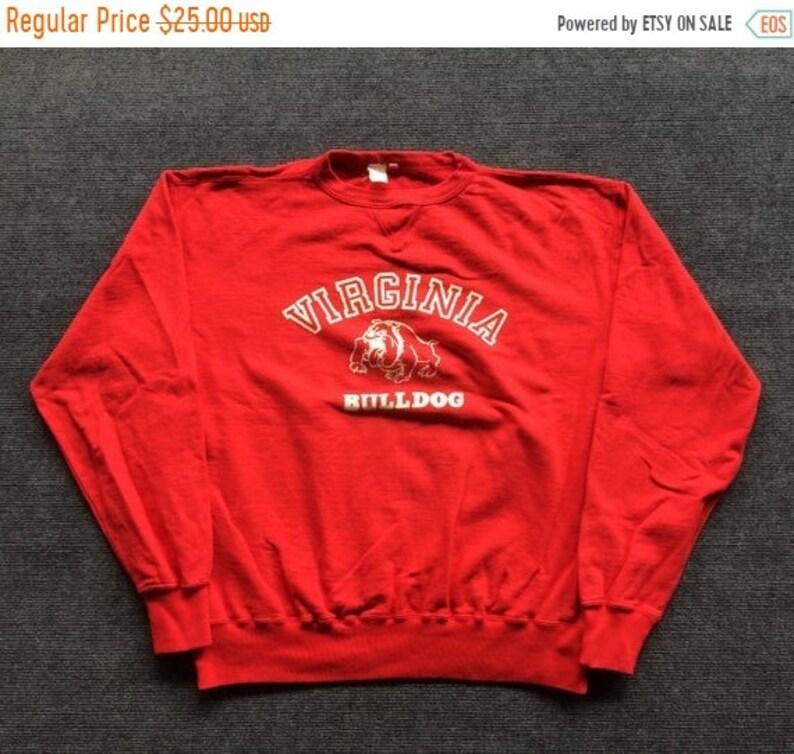 On Sale 32/% Vintage Virginia Bulldog 90s  Rare Sweatshirt