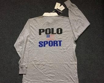 On Sale 28% Vintage Polo Sport Ralph Lauren 90s Long Sleeve Big Logo Spellout Hip hop Mens Shirt