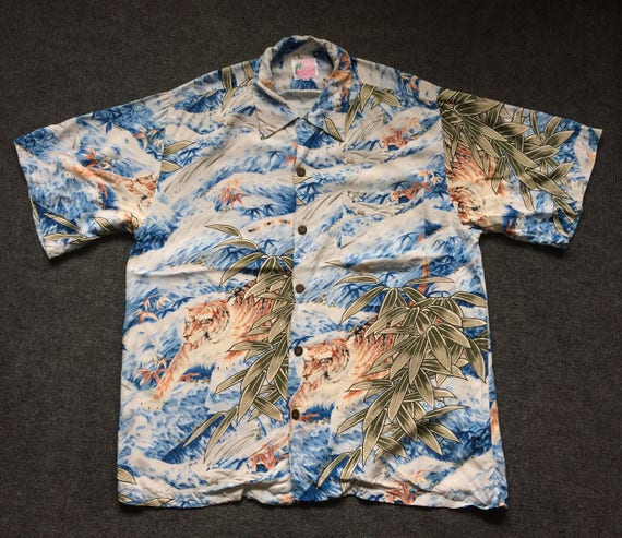 Vintage Hawaii Tiger Short Sleeve Rare Size M Hawa