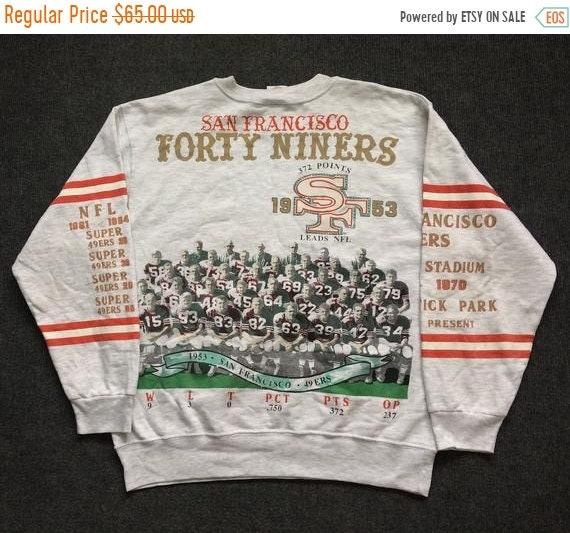 27e0b8244ff52 On Sale 30% Vintage San Francisco 49ers Streetwear 90s Hip Hop Style Rare  Sweatshirt
