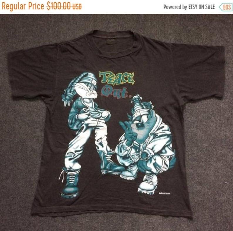 67ec980ed736c On Sale 32% Vintage Rabbit Bugs Bunny and Tazmania Peace Out Looney Toon  Cartoon Movie Hip hop Style 90s T Shirt