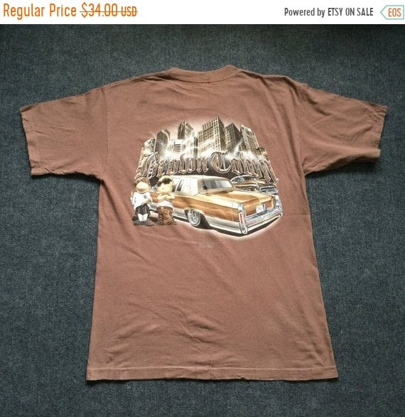 4124e17a3337b On Sale 30% Vintage 90s Rollin Hard Brown Tomn Low Rider Hip hop Style Rare  T shirt