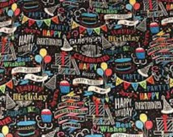 XXS-XXL Happy Birthday with Banners and Hats Bandana Bib