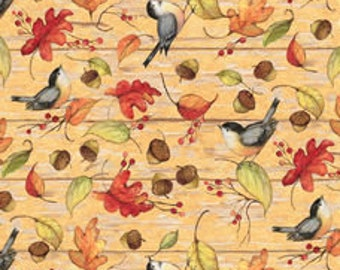XXS-XXL Acorn and Leaves and Birds Bandana