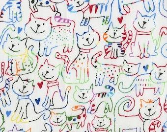 XXS-XXL Sketched Cats on Tie Dye Bandana