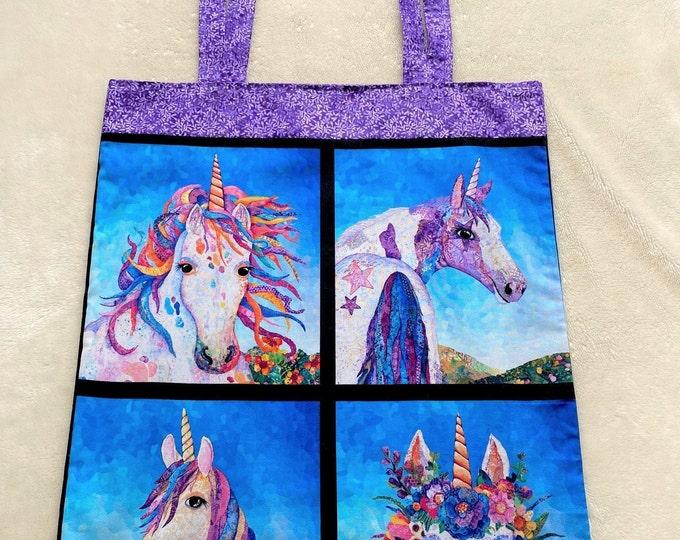 Fully Lined 16X19 Oversized Mythical Unicorn Tote Bag