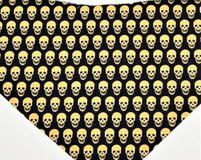 MTO Adjustable, Snapped XXS-M Mini Gold Skull on Black  Bandana Bib