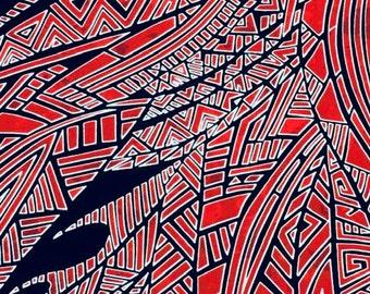 MTO Adjustable, Snapped Bandana Bib XXS-XXL Abstract Red on Black