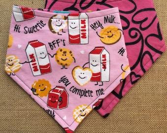 XXS-XXL Milk Loves Cookies Bandana Bib