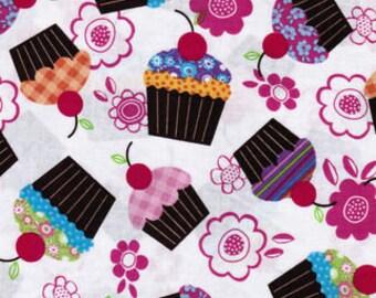 MTO Adjustable, Snapped Bandana Bib XXS-XXL Cupcake and Flowers