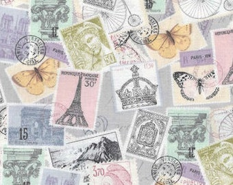 XXS-S Vintage French Postage Stamps Bandana Bib