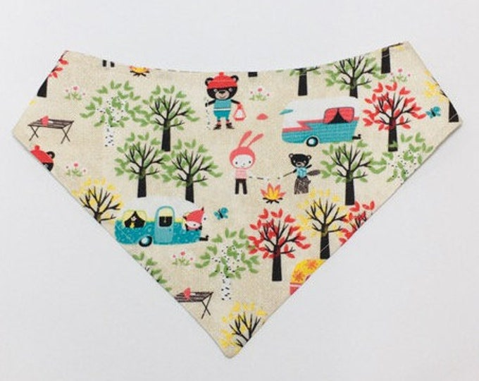 MTO Adjustable, Snapped Bandana Bib XXS-M Camping Critters With Their Trailers