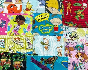 Animated/Cartoon Fabric Remnants (352), Cotton Fabric