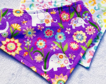 MTO Adjustable, Snapped Bandana Bib XXS-L Glitttery Adorable Purple Elephant