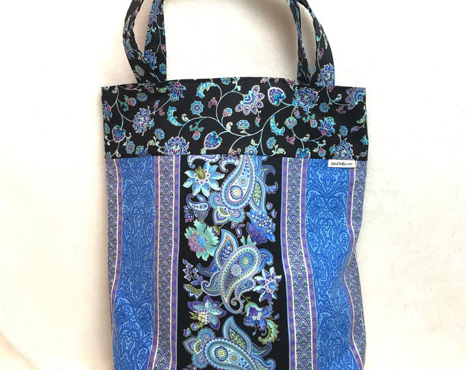 Reversible 14.5 x 15 Blue Floral with Silver Metallic Design Bag