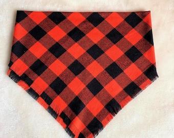 XXS-XXL Light Weight Black and Red Buffalo Print Frayed Bandana - Made to Order