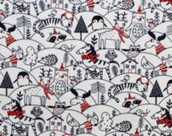 XXS-XXL Sketched Winter Forest Animals Bandana Bib
