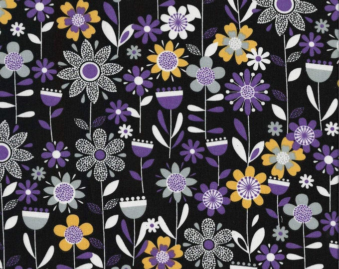 XXS-XXL Purple Flowers on Black Bandana
