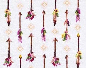 MTO Adjustable, Snapped Bandana Bib XXS-XXL Flowers and Arrows