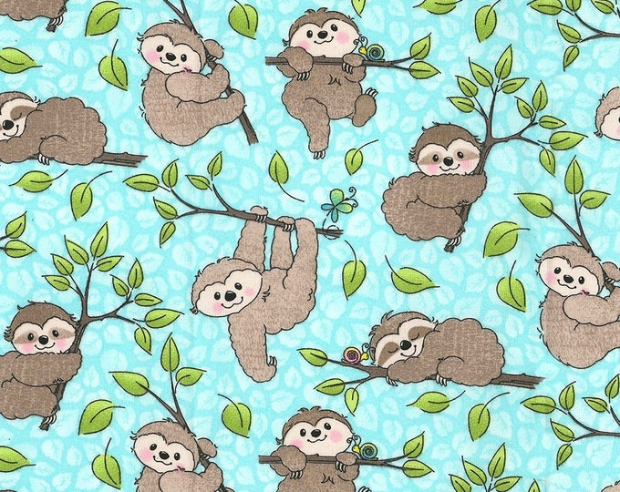 XXS-L Happy Sloths on Aqua Bandana