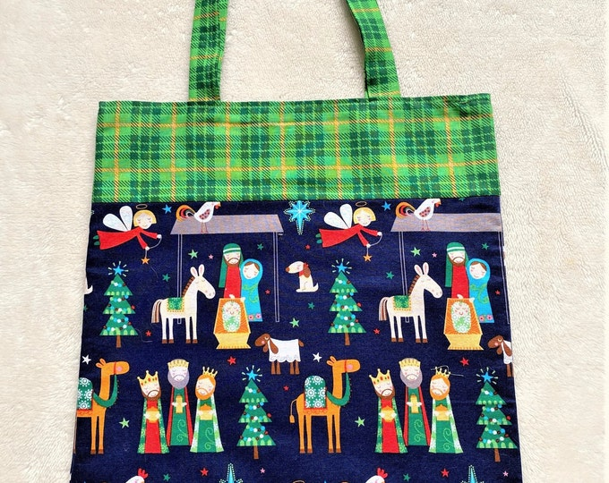 Fully Lined 12.5X15 Whimsical Nativity Gift Bag