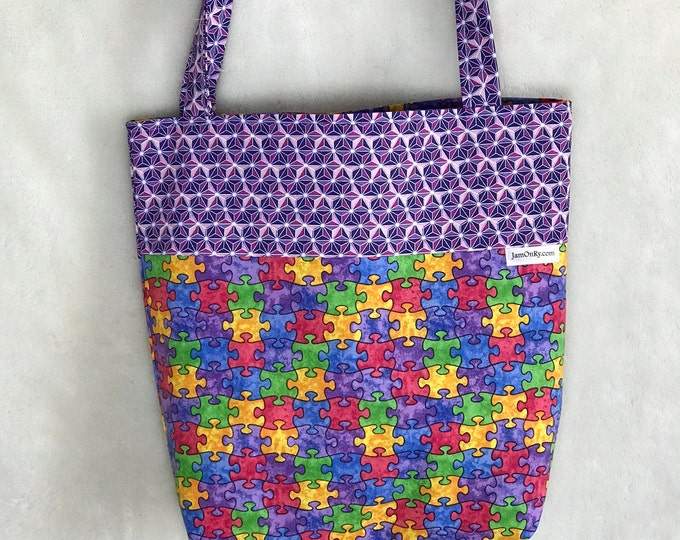 Reversible 12X12 It's a Puzzle to Me Bag