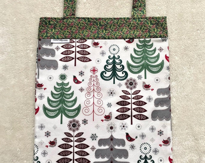 Fully Lined 10.5X14 Stylized Christmas Trees Gift Bag