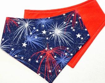 MTO Adjustable, Snapped Bandana Bib XXS-XL Glittery Fireworks