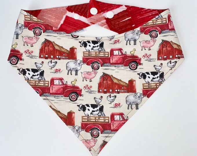 XXS-S With An Oink-Oink Here and a Moo-Moo There Bandana Bib