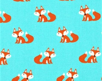 XXS-XXL Little Orange Foxes on Blue Bandana Bib