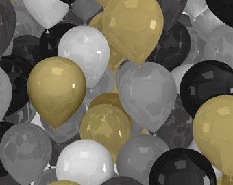 XXS-XXL Black and Gold and Silver and White Balloons Bandana Bib