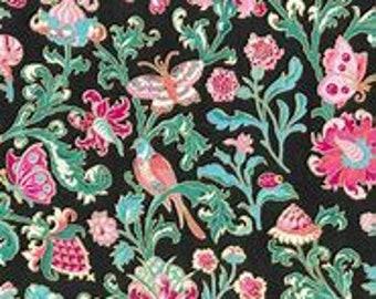 XXS-XXL Metallic Pink Flowers and Birds on Black Bandana