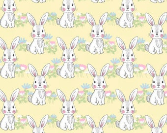 MTO Adjustable, Snapped Bandana Bib XXS-XXL Adorable Bunny on Yellow