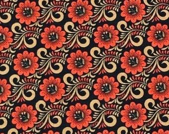 XXS-XXL Earth-Toned Folk Art Flowers and Swirls Bandana Bib