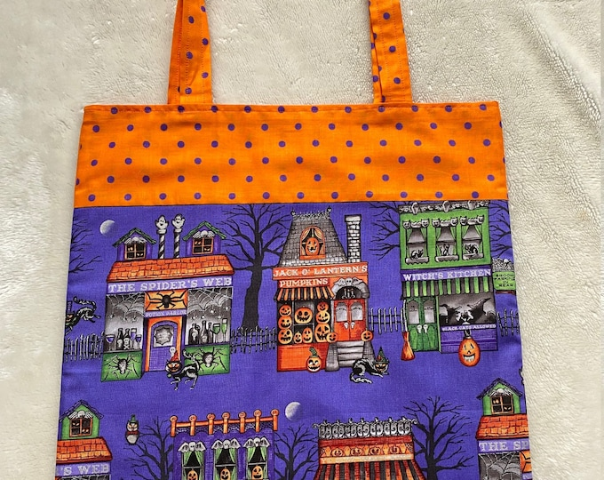 Fully Lined 14X14 Spooky Town's Shopping District Tote Bag