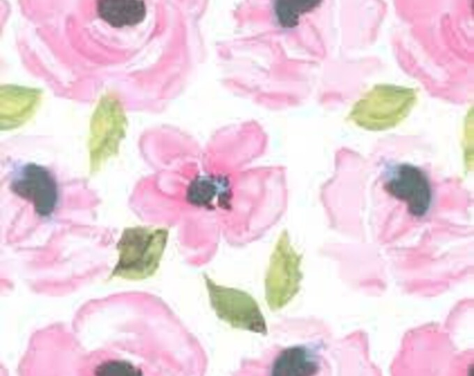 Bandana Bib XXS-XXL Soft Pink Flowers on White
