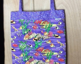 Fully Lined 16X19 Fish and Crabs and Turtles, Oh My! Tote Bag