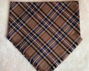 XXS-XXL Brown with Black, Blue, White, Yellow, Red Frayed Bandana - Made to Order