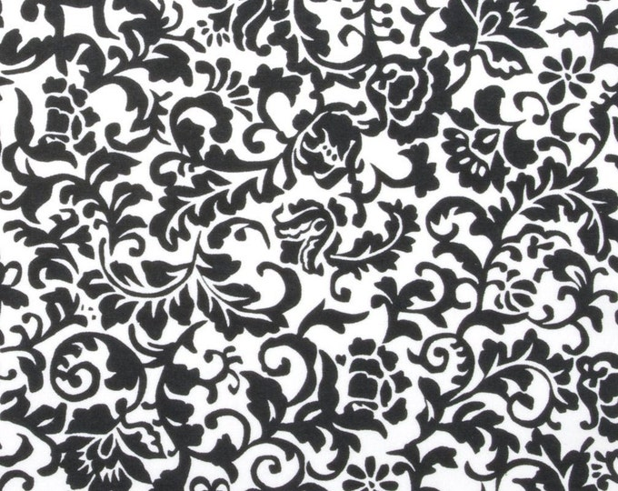 Medium Black Flowers on White Bandana