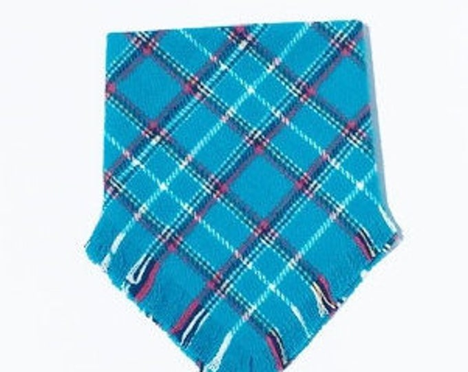 XXS Bright Blue with Red, White and Black Stripes Frayed Bandana - Made to Order