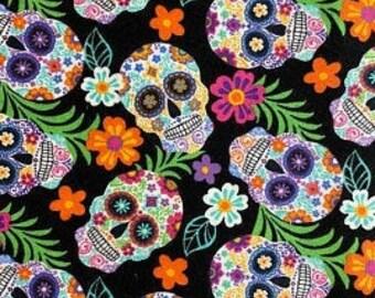 MTO Adjustable, Snapped Bandana Bib XXS-XXL Flowers Among the Sugar Skulls